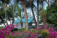 St. Peter's Catholic Church with boganvila flowers. Kona, Hawaii The Big Island.