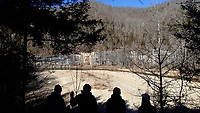 NWA Democrat-Gazette/FLIP PUTTHOFF<br />Hikers gaze out over a gravel bar along the Buffalo National River. A hike from Ponca to Steel Creek and back on Jan. 19 2018 took the group four miles along the Buffalo River Trail.