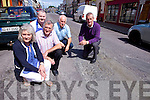 FIX THE ROAD: Business owners in Listowel are angry that william Street, one of the main roads through the town is left in a bad way and want it fixed before nxt months races. Pictured were: Joan Stack (Stack's Furniture), Paddy Mulvihill (O'Connell's Decor), John Griffin (Griffin's Butchers), Dermot Moriarty, Cllr. Mike Kennelly.