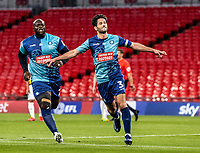 Wycombe Wanderers' Joe Jacobson (right) celebrates scoring his side's second goal from the penalty spot <br /> <br /> Photographer Andrew Kearns/CameraSport<br /> <br /> Sky Bet League One Play Off Final - Oxford United v Wycombe Wanderers - Monday July 13th 2020 - Wembley Stadium - London<br /> <br /> World Copyright © 2020 CameraSport. All rights reserved. 43 Linden Ave. Countesthorpe. Leicester. England. LE8 5PG - Tel: +44 (0) 116 277 4147 - admin@camerasport.com - www.camerasport.com