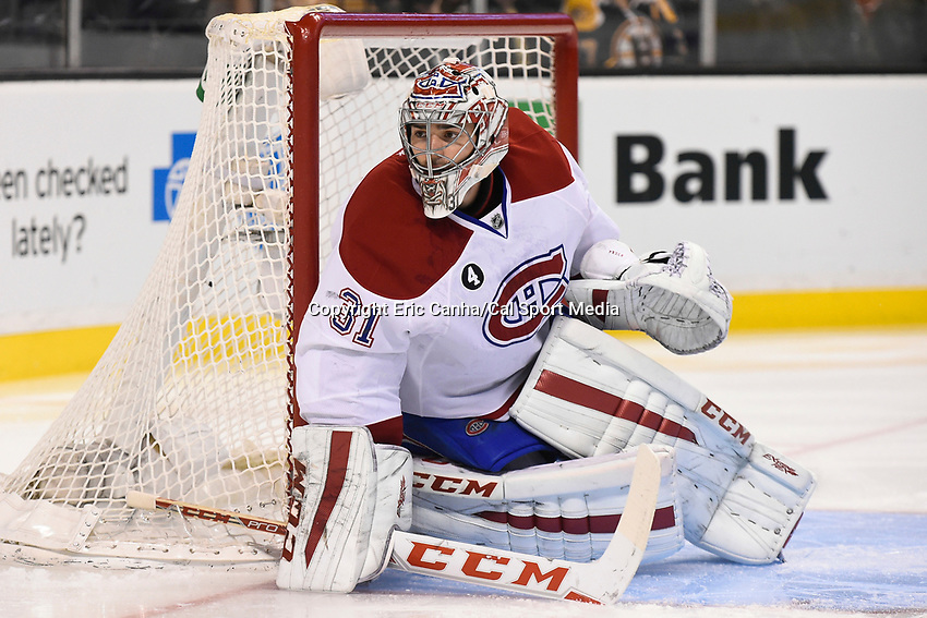 February 8, 2015 - Boston, Massachusetts, U.S. - Montreal Canadiens goalie Carey Price (31) in game action during the NHL game between the Montreal Canadiens and the Boston Bruins held at TD Garden in Boston Massachusetts. The Canadiens defeated the Bruins 3-1 in regulation time. Eric Canha/CSM