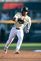 Vanderbilt Commodores second baseman Harrison Ray (2) runs to third base during Game 12 of the NCAA College World Series against the Louisville Cardinals on June 21, 2019 at TD Ameritrade Park in Omaha, Nebraska. Vanderbilt defeated Louisville 3-2. (Andrew Woolley/Four Seam Images)