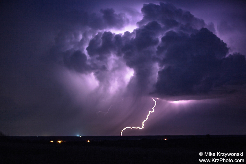Colorful Lightning Display in Oklahoma, May 8, 2013