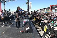03/17/19 Fontana, CA: Jason McCaslin<br />  and SUM 41 perform before the Auto Club 400 at the Auto Club Speed Way in Fontana, CA
