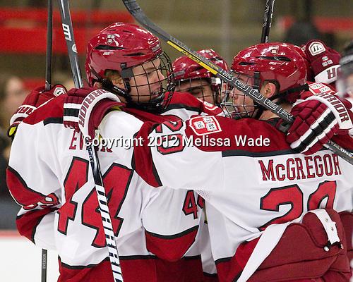 Max Everson (Harvard - 44), Ryan McGregor (Harvard - 20) - The Harvard University Crimson defeated the visiting Rensselaer Polytechnic Institute Engineers 4-0 (EN) on Saturday, November 10, 2012, at Bright Hockey Center in Boston, Massachusetts.