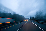 In motion on Interstate 84 at dusk