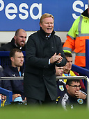 1st October 2017, Goodison Park, Liverpool, England; EPL Premier League Football, Everton versus Burnley; Ronald Koeman, manager of Everton reacts as his team go a goal behind after 20 minutes