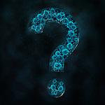 Biomedical illustration of virus in question mark over black background