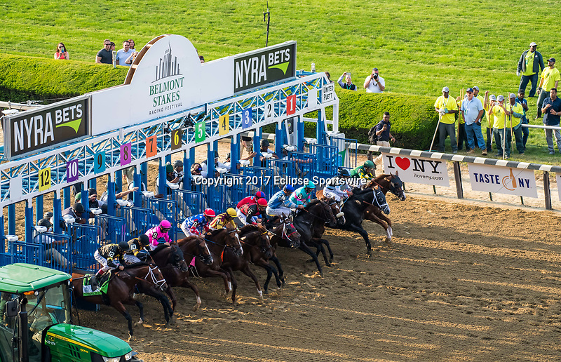 ELMONT, NY - JUNE 10: The field exits the gate at the start of the 149th Belmont Stakes on Belmont Stakes Day at Belmont Park on June 10, 2017 in Elmont, New York. Tapwrit #2, ridden by Jose Ortiz, won the race. (Photo by Dan Heary/Eclipse Sportswire/Getty Images)