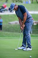 Jhonattan Vegas (VEN) watches his putt on 18 during round 2 of the Valero Texas Open, AT&amp;T Oaks Course, TPC San Antonio, San Antonio, Texas, USA. 4/21/2017.<br /> Picture: Golffile | Ken Murray<br /> <br /> <br /> All photo usage must carry mandatory copyright credit (&copy; Golffile | Ken Murray)