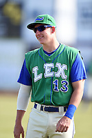 Lexington Legends first baseman Frank Schwindel (13) before a game against the Hagerstown Suns on May 19, 2014 at Whitaker Bank Ballpark in Lexington, Kentucky.  Lexington defeated Hagerstown 10-8.  (Mike Janes/Four Seam Images)