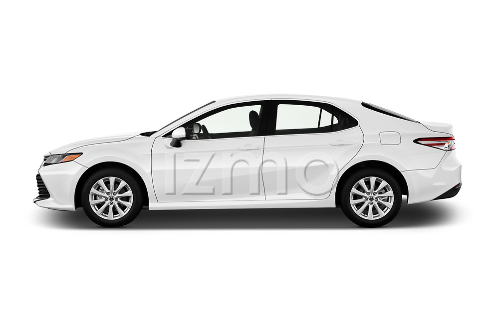 Car driver side profile view of a 2018 Toyota Camry LE Auto 4 Door Sedan