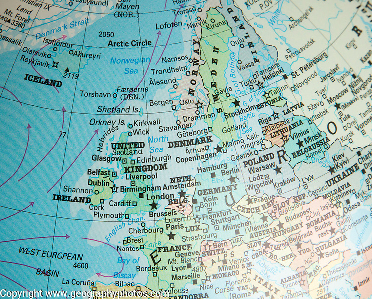 North west Europe map on a globe focused on United Kingdom, Netherlands, Denmark, Germany, France, Ireland