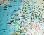 North west Europe map on a globe focused on United Kingdom, Netherlands, Denmark, Germany, France, Ireland