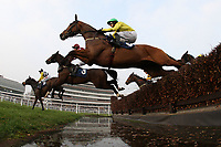 Runners and riders take the water jump during the Rickety Bridge Handicap Chase (In Aid of West Berkshire Mencap) - Horse Racing at Newbury Racecourse, Berkshire
