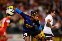 Western New York Flash goalkeeper Adrianna Franch (24). The Western New York Flash defeated Sky Blue FC 2-0 during a National Women's Soccer League (NWSL) semifinal match at Sahlen's Stadium in Rochester, NY, on August 24, 2013.