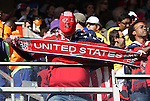 18 JUN 2010:  United States fan in the stands with a supporters scarf.  The Slovenia National Team played the United States National Team at Ellis Park Stadium in Johannesburg, South Africa in a 2010 FIFA World Cup Group C match.