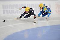 "SHORT TRACK: MOSCOW: Speed Skating Centre ""Krylatskoe"", 13-03-2015, ISU World Short Track Speed Skating Championships 2015, Se Yeong PARK (#142 | KOR), Nurbergen ZHUMAGAZIYEV (#139 | KAZ), ©photo Martin de Jong"