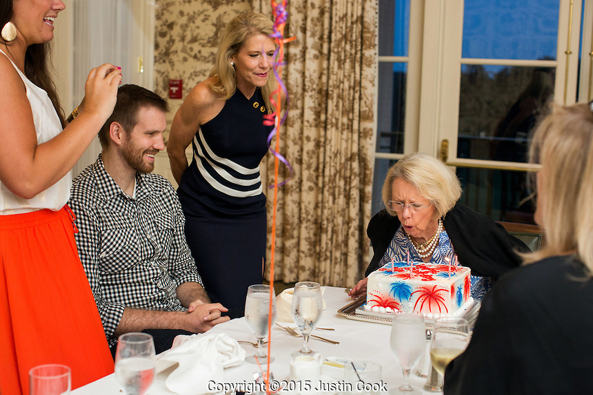 FROM LEFT: Shav's sister Senna, Shavlik, his mother Kim and family celebrate his grandmother Gigi's 79th birthday at the Carolina Country Club in Raleigh, N.C. on Friday, July 3, 2015. (Justin Cook)