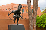 "Sculpture Garden at Nedra Matteucci Gallery, sculpture named ""Emergence"" by Michael A. Naranjo; Santa Fe, New Mexico"