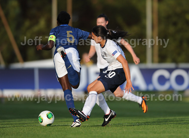 Jessica Sigsworth of England battles with Griedge M'Bock Bathy of France during the UEFA Womens U19 Championships at Stebonheath Park, Llanelli  Monday 19th August 2013. All images are the copyright of Jeff Thomas Photography-www.jaypics.photoshelter.com-07837 386244-Any use of images must be authorised by the copyright owner.