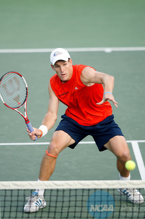 23 MAY 2006:  Scott Doerner of Pepperdine University attacks the net against the University of Georgia during the doubles portion of the Division I Men's Tennis Championship held at the Taube Tennis Center in Stanford, CA.  Jamie Schwaberow/NCAA Photos