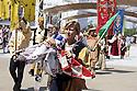 Anita Ghidoni, flag-waver of the Palio of Isola Dovarese, at the end of a performance at Expo 2015, Rho-Pero, Milan, 28 June 2015. The exhibition was attended by about 90 participants, all dressed in costume, to evoke Renaissance festivities in honor of the Marquis Gonzaga. &copy; Carlo Cerchioli<br /> <br /> Anita Ghidoni, sbandieratrice del Palio di Isola Dovarese, alla fine di un'esibizione a Expo 2015, Rho-Pero, Milano, 28 giugno 2015. All'esibizione hanno partecipato circa 90 figuranti, tutti vestiti in costume, per rievocare le feste rinascimentali in onore dei marchesi Gonzaga.