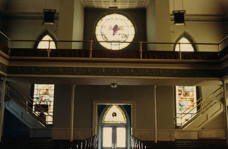 1966 June..Conservation.Downtown North (R-8)..Bank Street Baptist Church.501 Bank Street.Views of Stained Glass Windows..16. Interior View of Narthex Windows...NEG#.NRHA#..