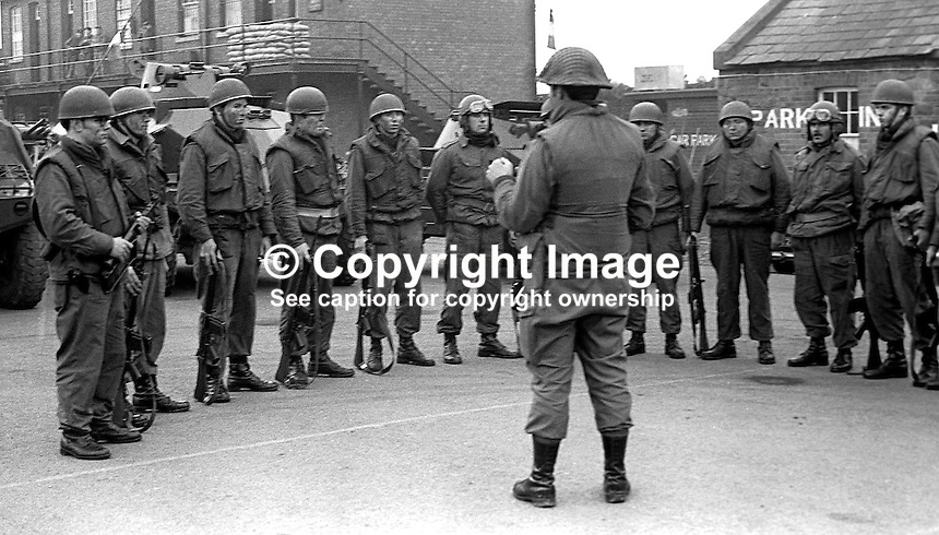 Irish Army soldiers of 27th Battalion stationed in Dundalk, Co Louth, are briefed before going on patrol along the border with South Armagh, N Ireland. 197512120773e..Copyright Image from Victor Patterson, 54 Dorchester Park, Belfast, United Kingdom, UK...For my Terms and Conditions of Use go to http://www.victorpatterson.com/Victor_Patterson/Terms_%26_Conditions.html