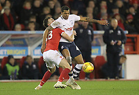 Preston North End's Lukas Nmecha battles with  Nottingham Forest's Jack Robinson<br /> <br /> Photographer Mick Walker/CameraSport<br /> <br /> The EFL Sky Bet Championship - Nottingham Forest v Preston North End - Saturday 8th December 2018 - The City Ground - Nottingham<br /> <br /> World Copyright © 2018 CameraSport. All rights reserved. 43 Linden Ave. Countesthorpe. Leicester. England. LE8 5PG - Tel: +44 (0) 116 277 4147 - admin@camerasport.com - www.camerasport.com