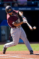 Tony Sanchez #26 of the Boston College Eagles makes contact with the baseball at Durham Bulls Athletic Park May 20, 2009 in Durham, North Carolina. (Photo by Brian Westerholt / Four Seam Images)