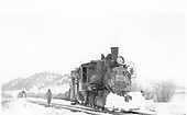 Mostly frontal view of D&amp;RGW #278 at Castleton with the water tank some distance away.<br /> D&amp;RGW  Castleton - Baldwin Branch, CO  Taken by Peyton, Ernie S. - 3/1949