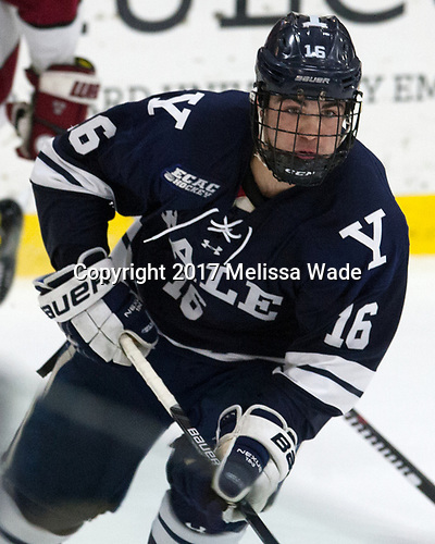 Anthony Walsh (Yale - 16) - The Harvard University Crimson defeated the Yale University Bulldogs 6-4 in the opening game of their ECAC quarterfinal series on Friday, March 10, 2017, at Bright-Landry Hockey Center in Boston, Massachusetts.