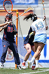 01 May 2016: North Carolina's Sammy Jo Tracy (13) shoots towards Syracuse's Allie Murray (89). The University of North Carolina Tar Heels played the Syracuse University Orange at Lane Stadium in Blacksburg, Virginia in the 2016 Atlantic Coast Conference Women's Lacrosse Tournament championship match. North Carolina won 15-14 in overtime.