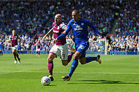 Alan Hutton of Aston Villa pressures Kenneth Zohore of Cardiff City during the Sky Bet Championship match between Cardiff City and Aston Villa at the Cardiff City Stadium, Cardiff, Wales on 12 August 2017. Photo by Mark  Hawkins / PRiME Media Images.