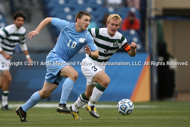 11 December 2011: North Carolina's Billy Schuler (10) and UNCC's Isaac Cowles (3). The University of North Carolina Tar Heels defeated the University of North Carolina Charlotte 49ers 1-0 at Regions Park in Hoover, Alabama in the NCAA Division I Men's Soccer College Cup Final.