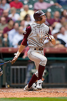 Luke Anders #44 of the Texas A&M Aggies follows through on a home run versus the UC-Irvine Anteaters  in the 2009 Houston College Classic at Minute Maid Park February 27, 2009 in Houston, TX.  The Aggies defeated the Anteaters 9-2. (Photo by Brian Westerholt / Four Seam Images)