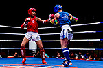 Ng Ka Chun (Red) of Hong Kong fights against Jung Wonho of (Blue) South Korea in the male muay 60KG division weight bout during the East Asian Muaythai Championships 2017 at the Queen Elizabeth Stadium on 12 August 2017, in Hong Kong, China. Photo by Yu Chun Christopher Wong / Power Sport Images