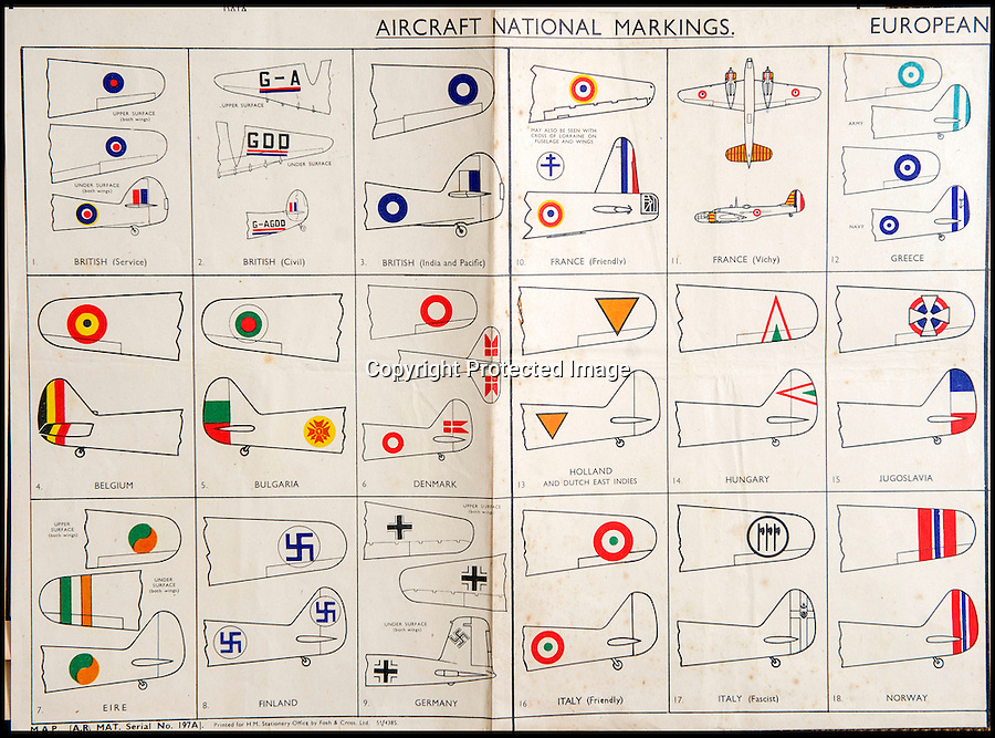 BNPS.co.uk(01202 558833)<br /> Pic: C&TAuctions/BNPS<br /> <br /> Aircraft markings chart of friend and foe...<br /> <br /> Found in a french flea market - a Top Secret 'how to' guide to D-Day.<br /> <br /> Fascinating top secret documents and photos of the extensive planning that went into the Normandy invasion have emerged after 72 years.<br /> <br /> Incredibly detailed plans of Nazi defences, high resolution photographs, weekly intel reports and even analysis of the German weapons they were likely to face are included in the sale.<br /> <br /> One photo taken at zero feet shows German troops scattering across a beach as a low-level RAF aircraft sweeps by to capture the plethora of anti-landing obstacles.<br /> <br /> Other images show the famous coastline with key cliff-top targets that had to be destroyed either before or on D-Day itself.<br /> <br /> The archive is being sold by C&T Auctions of Kent.