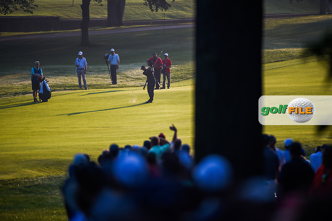 Tiger Woods (USA) hits his approach shot on 9 during 2nd round of the 100th PGA Championship at Bellerive Country Club, St. Louis, Missouri. 8/11/2018.<br /> Picture: Golffile | Ken Murray<br /> <br /> All photo usage must carry mandatory copyright credit (© Golffile | Ken Murray)