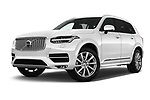Stock pictures of low aggressive front three quarter view of 2018 Volvo XC90-4WD Inscription 5 Door SUV Low Aggressive