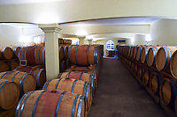 Domaine Haut-Lirou in St Jean de Cuculles. Pic St Loup. Languedoc. Barrel cellar. France. Europe.