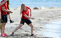 20180302 - LARNACA , CYPRUS :  Belgian Jana Coryn pictured during a Muscular warm up training session on the beach before a women's soccer game between The Belgian Red Flames and Spain , on friday 2 March 2018 on the CTO Beach in Larnaca , Cyprus . The game will be the second game in group B for Belgium during the Cyprus Womens Cup , a prestigious women soccer tournament as a preparation on the World Cup 2019 qualification duels. PHOTO SPORTPIX.BE | DAVID CATRY