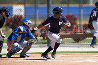 New York Yankees Greidy Encarnacion (17) at bat in front of catcher Matt Morgan (21) during a minor league Spring Training game against the Toronto Blue Jays on March 22, 2016 at Englebert Complex in Dunedin, Florida.  (Mike Janes/Four Seam Images)