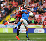 Ethan Ebanks-Landell of Sheffield Utd and Paul Taylor of Peterborough Utd  during the League One match at Bramall Lane Stadium, Sheffield. Picture date: September 17th, 2016. Pic Simon Bellis/Sportimage