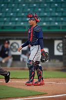 Mississippi Braves catcher William Contreras (28) during a Southern League game against the Jackson Generals on July 23, 2019 at The Ballpark at Jackson in Jackson, Tennessee.  Mississippi defeated Jackson 1-0 in the second game of a doubleheader.  (Mike Janes/Four Seam Images)