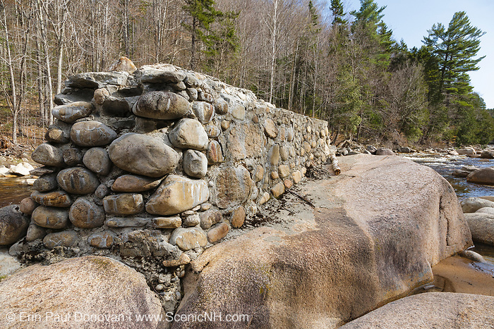 Remnants of the abandoned trestle No. 17 along the old East Branch & Lincoln Railroad (1893-1948) in the Pemigewasset Wilderness of Lincoln, New Hampshire. This trestle spanned the East Branch of the Pemigewasset River near logging Camp 17.