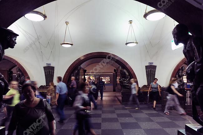 The Ploschad Revolutsii metro station in Moscow, Russia, July 22, 2009