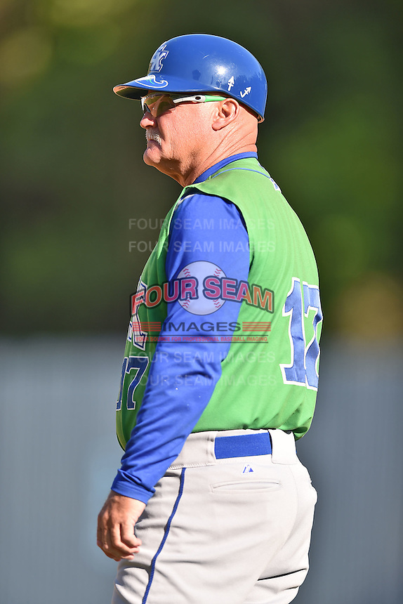 Lexington Legends bench coach Glenn Hubbard (17) during a game against the Asheville Tourists on May 2, 2015 in Asheville, North Carolina. The Legends defeated the Tourists 12-3. (Tony Farlow/Four Seam Images)