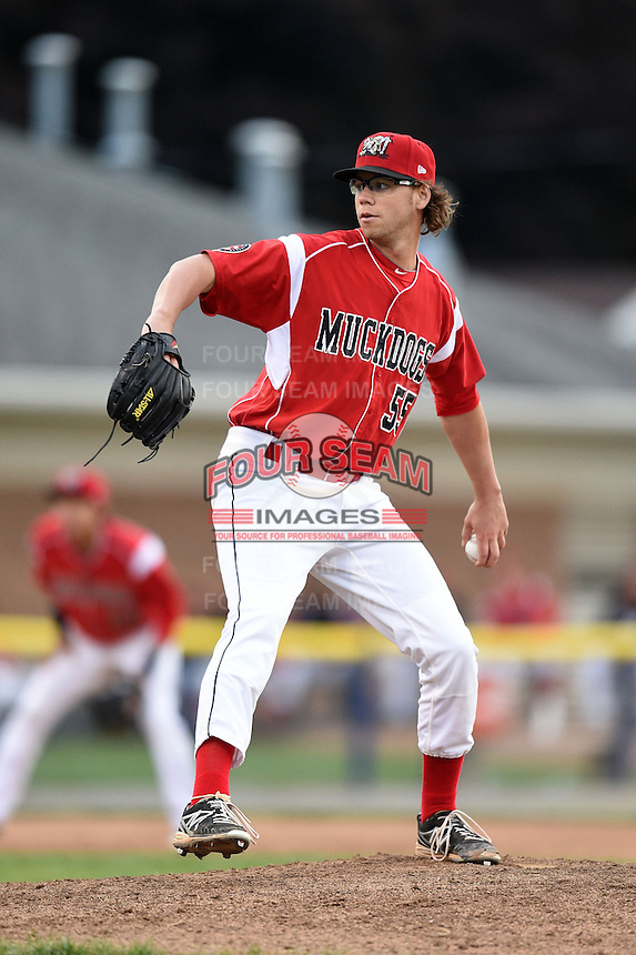 Batavia Muckdogs pitcher Hayden Fox (55) delivers a pitch during a game against the Mahoning Valley Scrappers on June 20, 2014 at Dwyer Stadium in Batavia, New York.  Batavia defeated Mahoning Valley 7-4.  (Mike Janes/Four Seam Images)